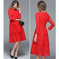红裙子女2017新款新娘礼服敬酒服红色中长款蕾丝连衣裙秋冬长袖
