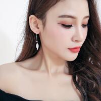 990银树叶耳环 女叶子长款耳坠吊气质韩国耳饰潮耳钉
