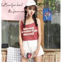 夏装女装韩版原宿风bf宽松显瘦短吊带背心外穿无袖t恤打底上衣