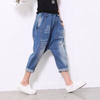 2018原创设计女士垮裤水洗做旧磨白休闲牛仔吊裆裤垮裤哈伦裤