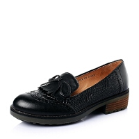Teenmix/天美意专柜同款春牛皮时尚复古方跟女单鞋6JH02AQ6