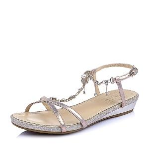 BASTO/百思图夏季专柜同款 山羊皮革女皮凉鞋TCR11BL6