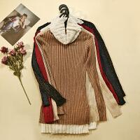 前短后长 冬装新款女装半高领修身长袖打底衫打底上衣LY22303