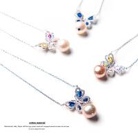 掌柜家18新款!8.5~9.5mm淡水珍珠 纯银蝴蝶项链 鉴定证书TE0008