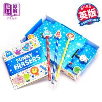 【中商原版】儿童铅笔带橡皮擦套装6支+一本活动书 英文原版 Funky Erasers Pencil Toppers