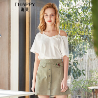 海贝2018夏季新款女装 个性镂空露肩短袖纯棉白色T恤