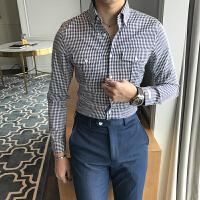 青年格子衬衫男长袖韩版潮牌修身百搭薄款休闲衬衣男商务打底上衣