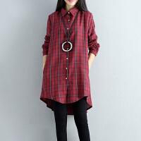 格子衬衫秋装新款民族风女装棉麻长袖衬衫袖POLO领中国风上衣