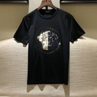 欧洲站18SS进口美杜莎双丝光纯棉小衫男士修身短袖T恤打底衫 半袖