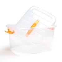 透明塑料收纳箱 加厚有盖大小号手提杂物储物箱 玩具衣物收纳盒 四件套 加大/大/中/小号