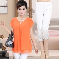 中年 妈妈装夏装短袖套装40-50岁60中老年人女装夏天上衣服两件套