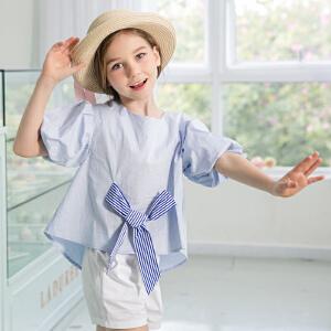 米奇丁当女童纯棉T恤小衫2018夏季新款儿童中大童蝴蝶结短袖上衣