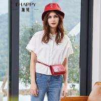 海贝2018夏季新款女装 简约通勤翻领短袖纯色衬衫