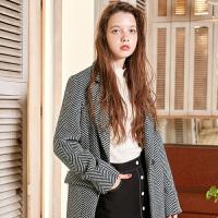 冬装新品 人字纹毛呢大衣宽松长款羊毛外套女D742855D00