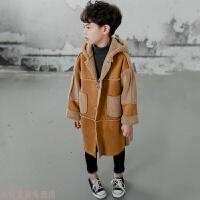 冬季童装男童2018秋冬款羊羔绒加厚中长款儿童大童洋气风衣韩版外套潮秋冬新款