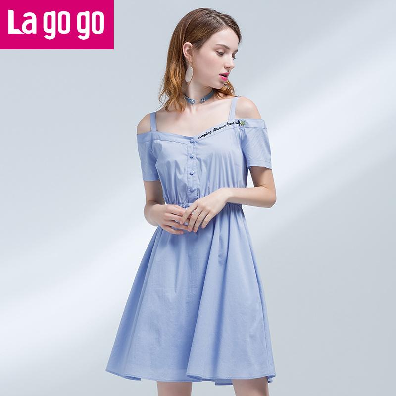 Lagogo/拉谷谷2017夏季新款一字领短袖吊带裙子露肩显瘦连衣裙女