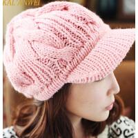 韩版加厚针织毛线鸭舌帽秋冬潮女士麻花冬季棒球帽子