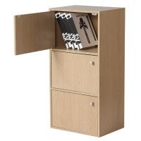 好事达 带门三层柜9375浅橡色 书架书柜 收纳储物柜子 优品优质