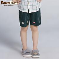 【3件3折 到手价:119】Pawinpaw卡通小熊童装秋男童条纹五分裤中大童帅气裤子