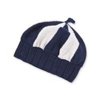 [领90元卷]秋冬季款经典条纹纯棉针织宝宝套头帽/婴儿帽