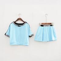 【�赫邸俊玖郊�套】G01新款韩版一字领上衣+A字短裙套装
