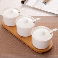 创意陶瓷调味罐套装白色调味料罐圆形大调料罐厨房调味品罐盐罐子