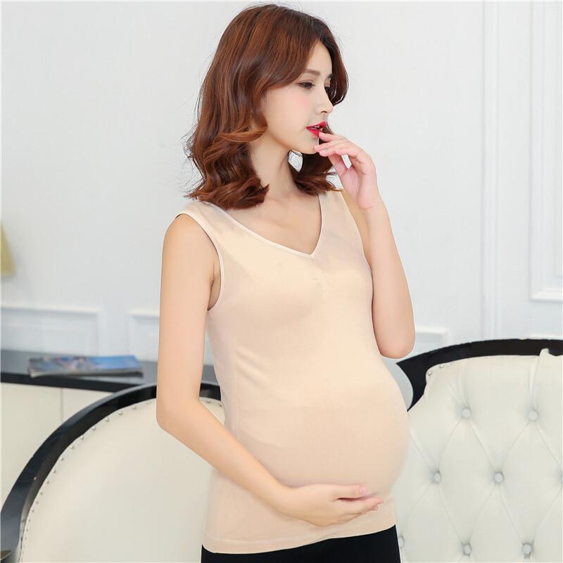 孕妇保暖背心加绒加厚保暖内衣单件孕妇托腹马甲月子服  均码