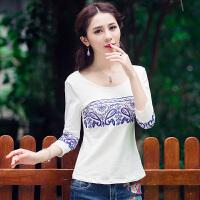中国风中袖上衣夏装 民族风圆领绣花七分袖T恤修身显瘦打底衫
