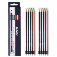 晨光 抽条铅笔HB三角/六角型铅笔原木铅笔带橡皮头 12支/盒