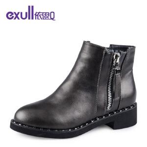 依思q冬季新款马丁靴双拉链粗跟裸靴中跟短靴子铆钉女靴