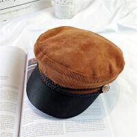 春季海军帽女英伦复古贝雷帽潮弯檐平顶帽百搭时尚休闲画八角帽 M(56-58cm)
