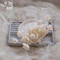 棉麻结婚头饰礼帽婚纱配网帽