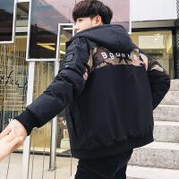 男士外套学生棉衣加厚2018冬季新款潮流韩版短款迷彩棉袄羽绒