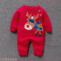 婴儿冬装女宝宝连体衣男圣诞节哈衣加厚新生儿红色棉衣加绒外出服 红色