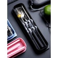 韩式便携式餐具长柄三件套盒304不锈钢筷子勺子叉子套装学生