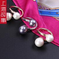多色珍珠丝巾扣时尚韩国百搭流行饰品女胸针欧美围巾扣披肩扣配饰