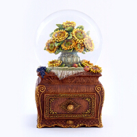 音乐盒 油画系列向日葵仿水晶球八音盒创意家居摆件生日礼物女生送老婆女友闺蜜结婚 音乐盒