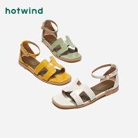 热风夏季小清新女士时尚凉鞋一字扣带休闲凉鞋H50W9231