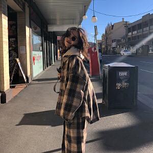 【限时促销!下单立减100!】时髦高级感 翻领复古格纹毛呢外套秋装女新款格子大衣