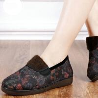 布鞋女棉鞋软底防滑奶奶鞋秋冬款加绒保暖老人女棉拖鞋休闲鞋