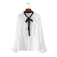 花边领系带甜美小清新衬衫 2018春胖MM200斤修身百搭纯色打底衫