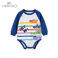 英氏婴儿内衣 男宝宝纯棉长袖三角哈衣 迪士尼系列 181A0313