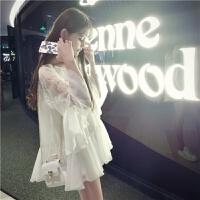 夏季宽松白色娃娃衫中长款V领蕾丝衫雪纺衫仙喇叭袖上衣女 白色