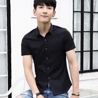 20180626075753756新款2018男士T恤夏季夏季短袖衬衫男士修身款纯色衬衣休闲男潮流