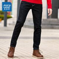 [2.5折到手价:124.1元,仅限12.4-5]真维斯黑色牛仔裤男2019冬装新品加厚款青年休闲韩版修身小脚长裤