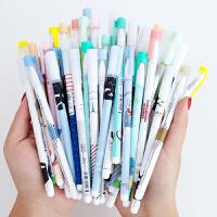 中性笔0.5mm学生用水笔可爱卡通听雨轩0.38简约创意文具文艺少女心日系黑色碳素签字笔
