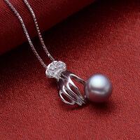 七度品尚925银珍珠吊坠项链女情人节礼物 掌上明珠女友