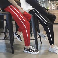 春季男士裤子韩版潮流条纹运动裤男 学生休闲裤哈伦长裤收口卫裤