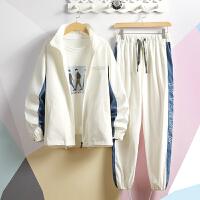 夹克宽松休闲套装嘻哈男士夹克开衫外套新款立领两件套青少年