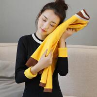 【加绒保暖】秋冬加绒针织衫女圆领条纹撞色套头加厚针织打底衫短款修身厚毛衣